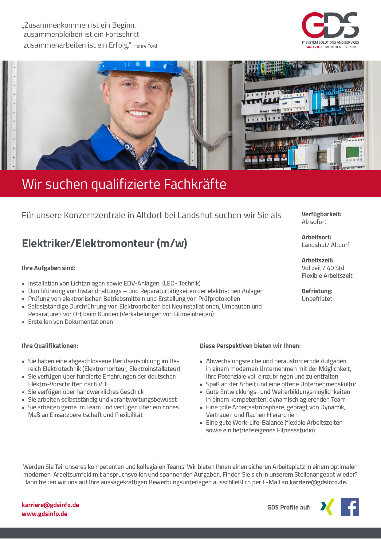 Elektriker/Elektromonteur (m/w)