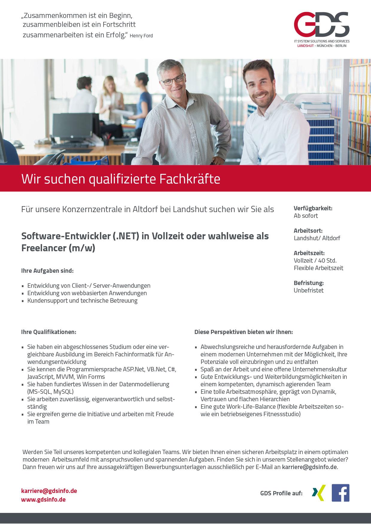 Software-Entwickler (.NET) (m/w) Standort Altdorf/Landshut