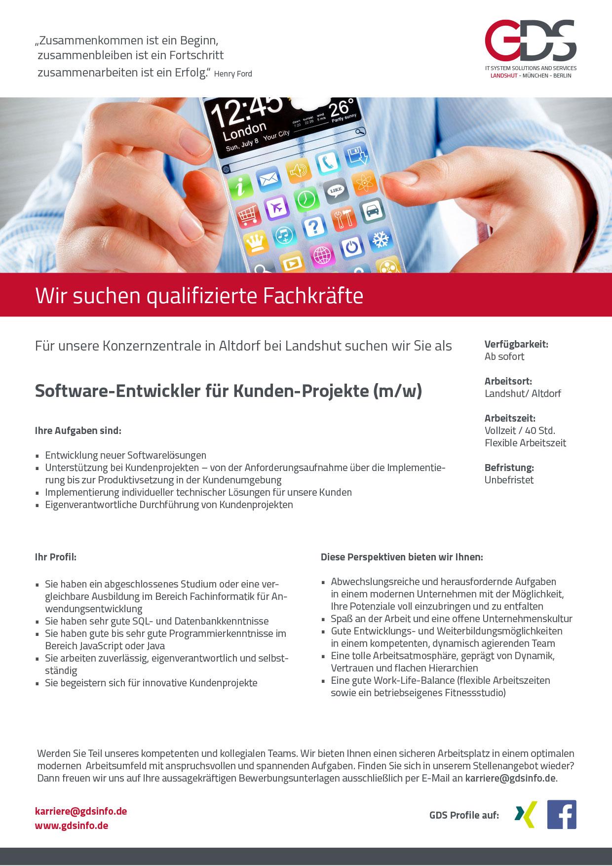 Software-Entwickler für Kunden-Projekte (m/w) Standort Altdorf/Landshut