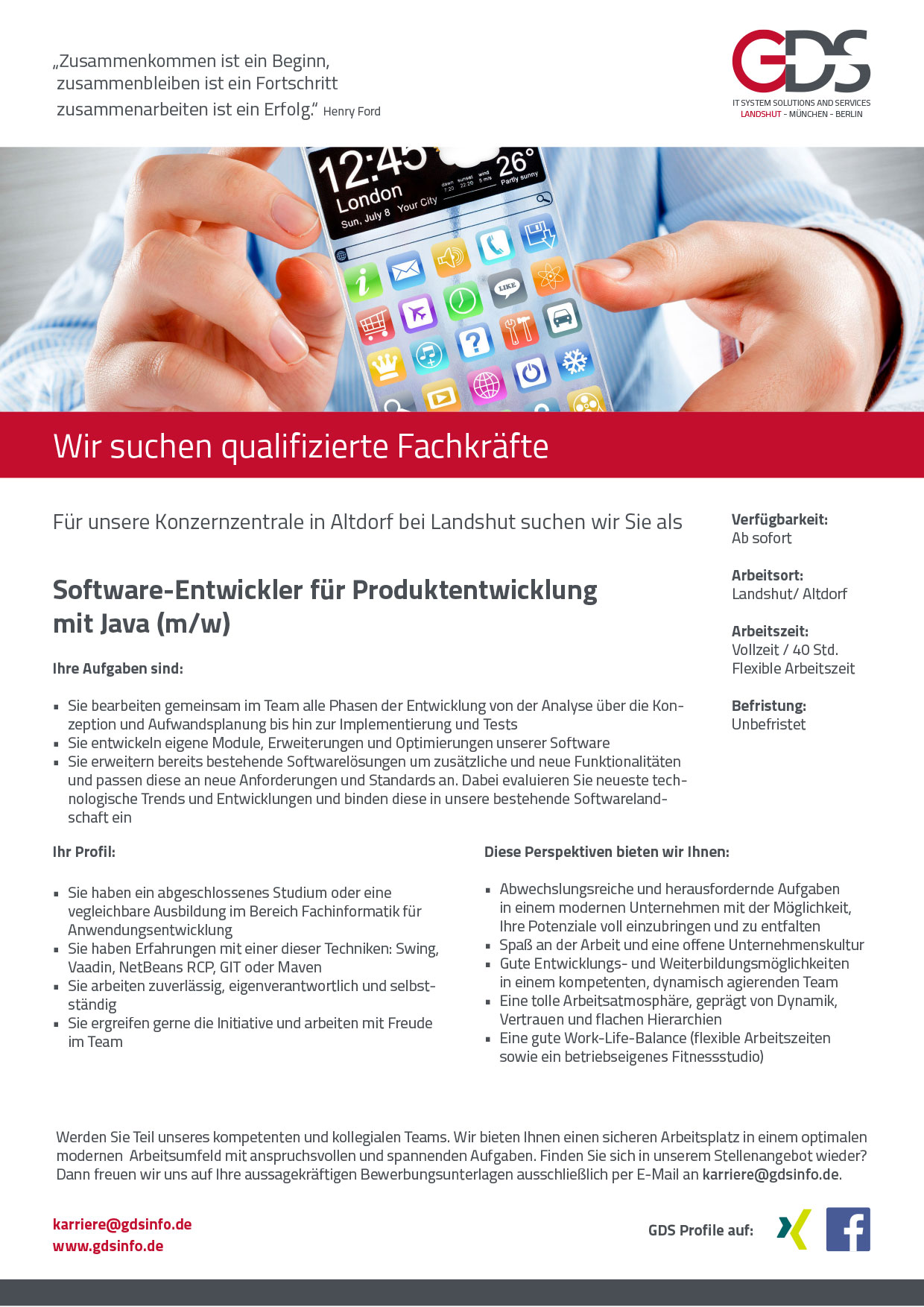 Software-Entwickler für Produktentwicklung mit Java (m/w) Standort Altdorf/Landshut