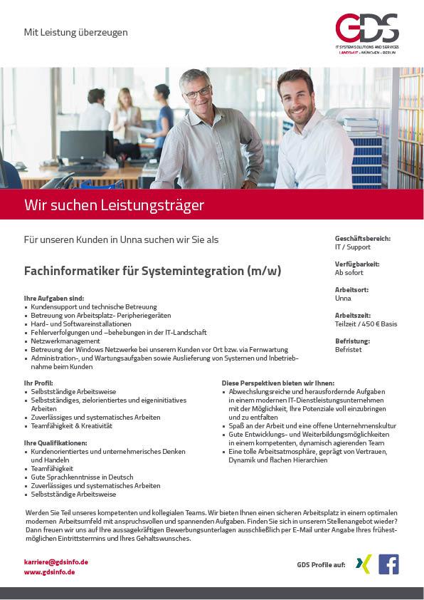 Fachinformatiker für Systemintegration (m/w)