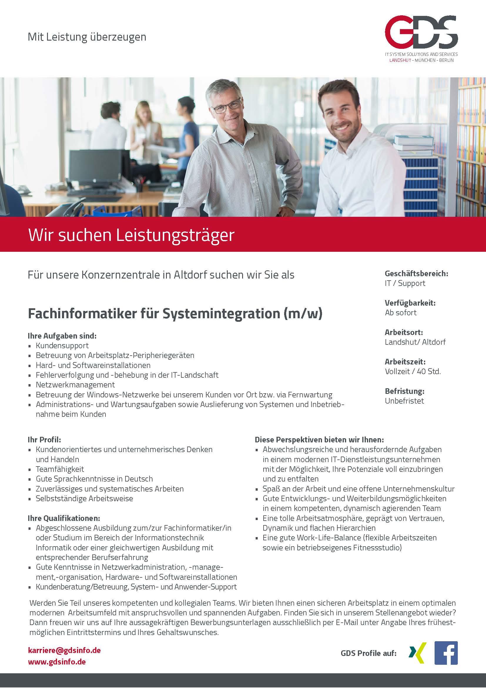Fachinformatiker für Systemintegration (m/w) Standort Altdorf/Landshut