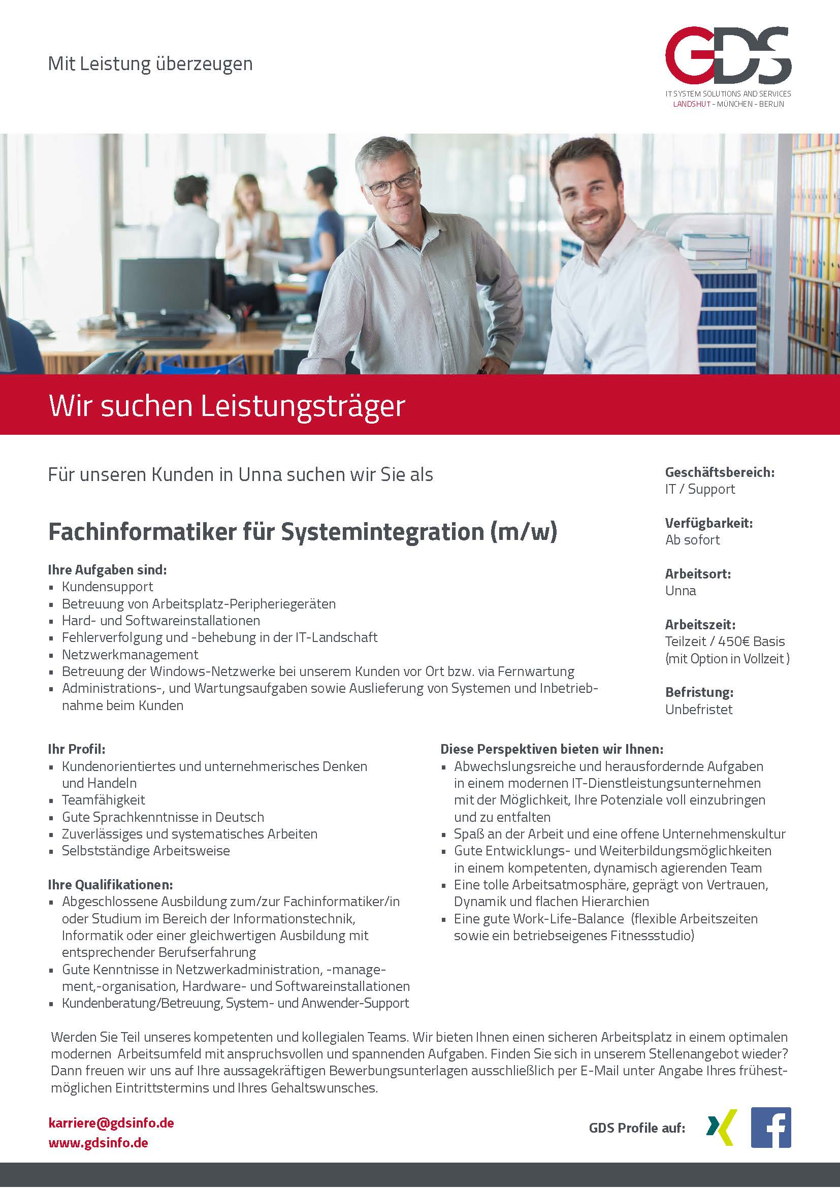 Fachinformatiker für Systemintegration (m/w) Standort Unna