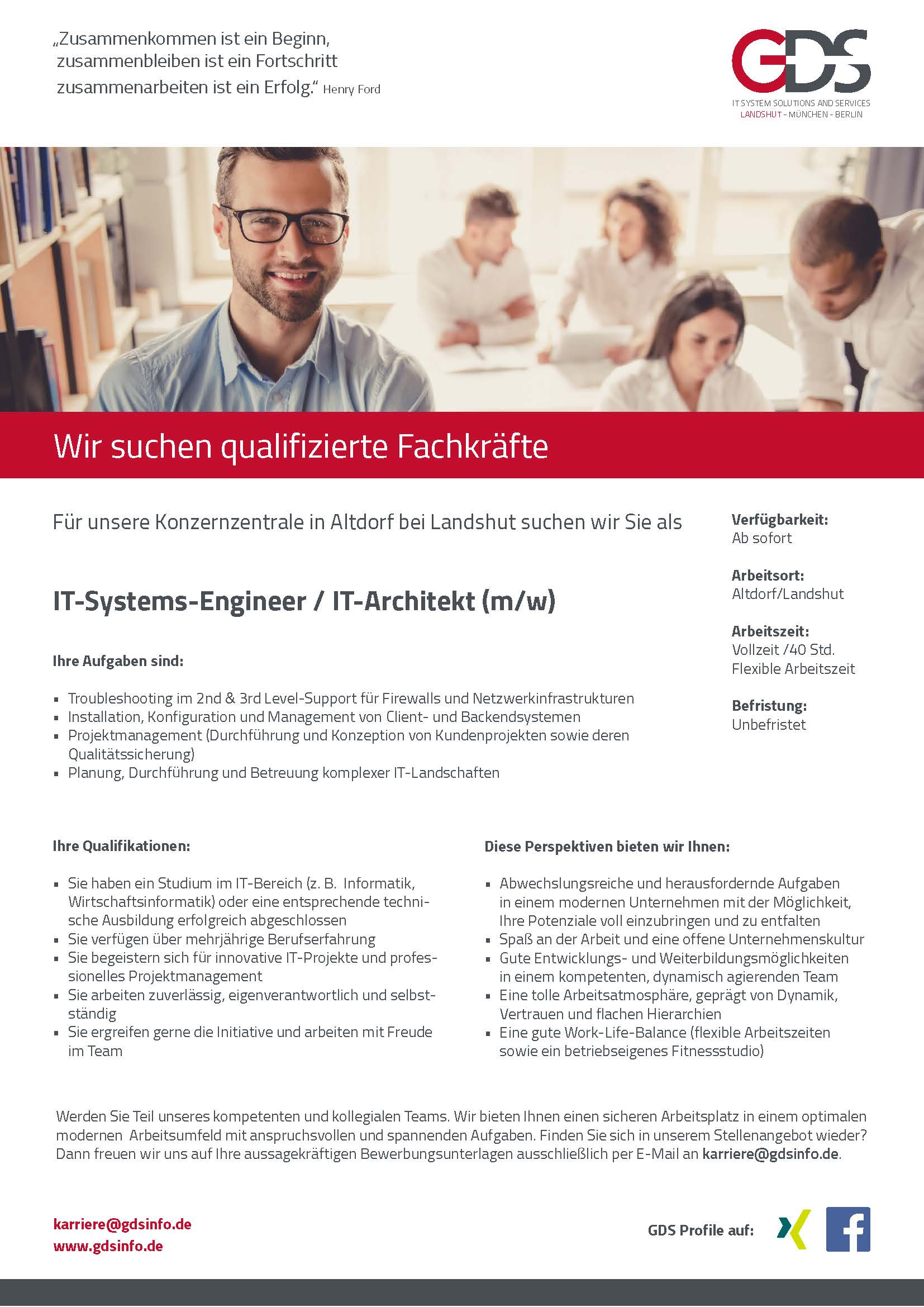 IT-Systems-Engineer / IT-Architekt (m/w) Standort Altdorf/Landshut