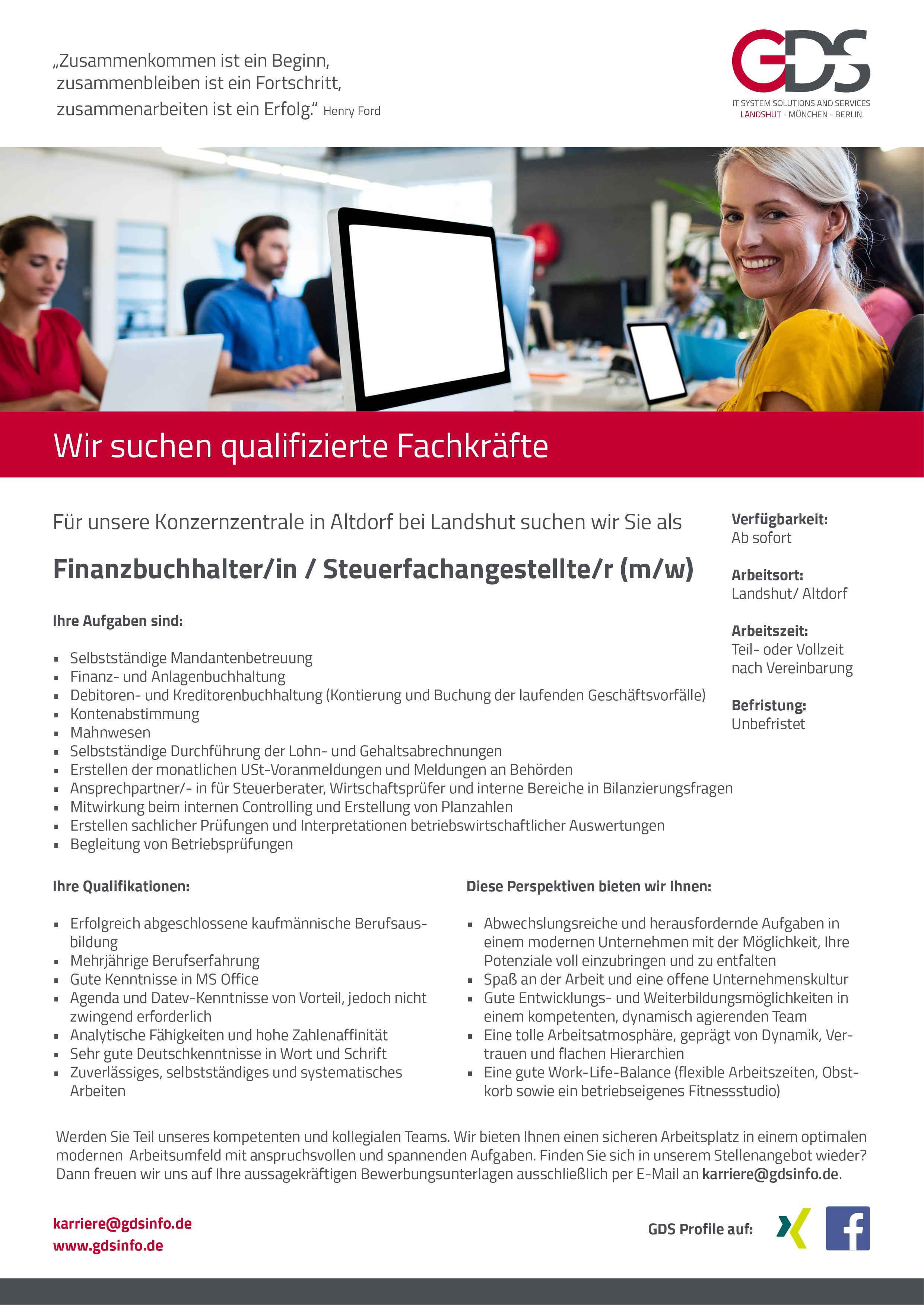 Gesucht Finanzbuchhalter/in / Steuerfachangestellte/r in Altdorf – GDS