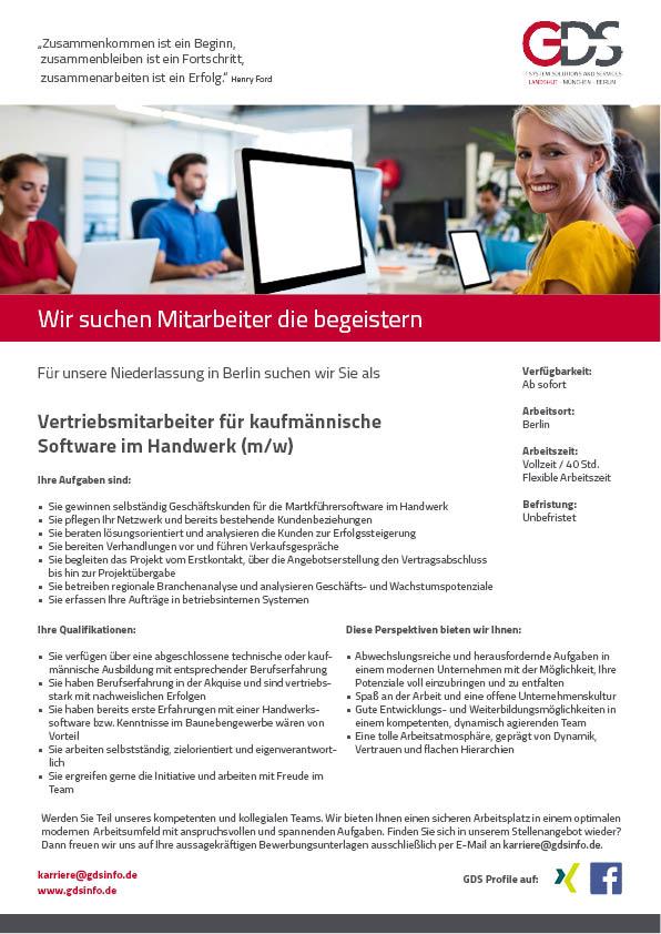 Vertriebsmitarbeiter für kaufmännische Software im Handwerk (m/w) Standort Berlin