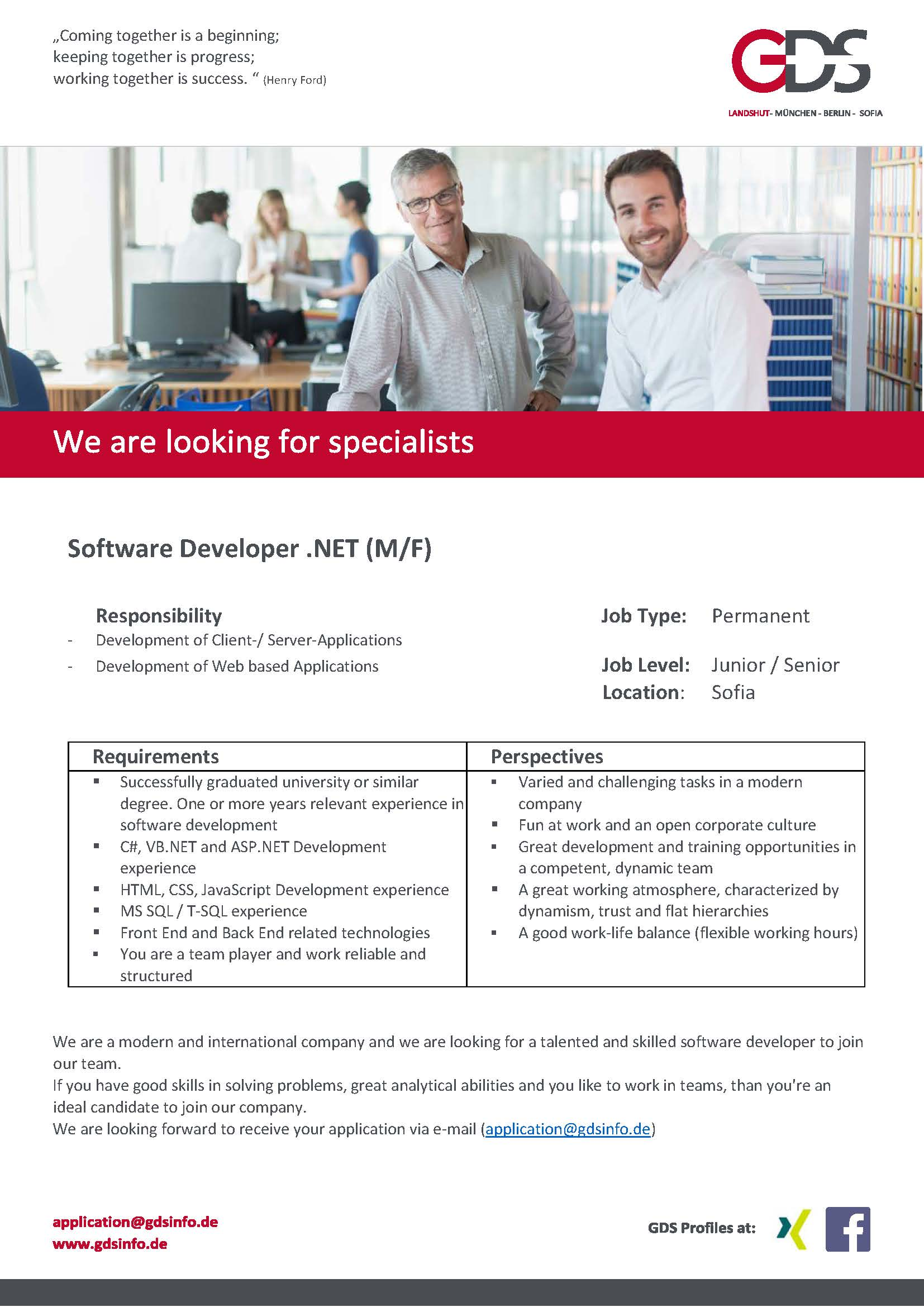 Software Developer .NET (m/f) Location Sofia