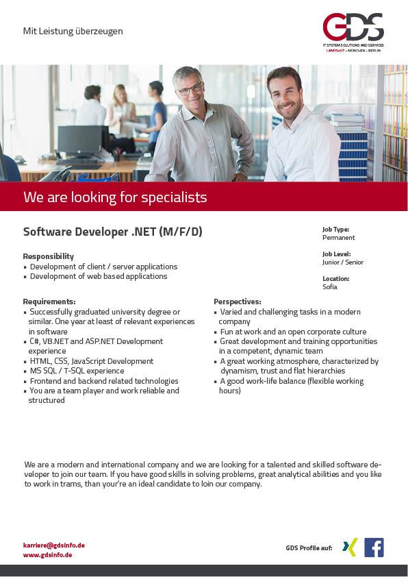 Software Developer .NET (M/F) Location Sofia